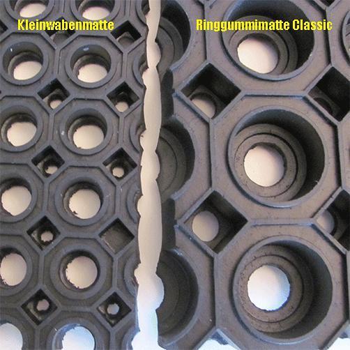 Vergleich Kleinwabenmatte - Ringgummimatte Classic, Wabengröße
