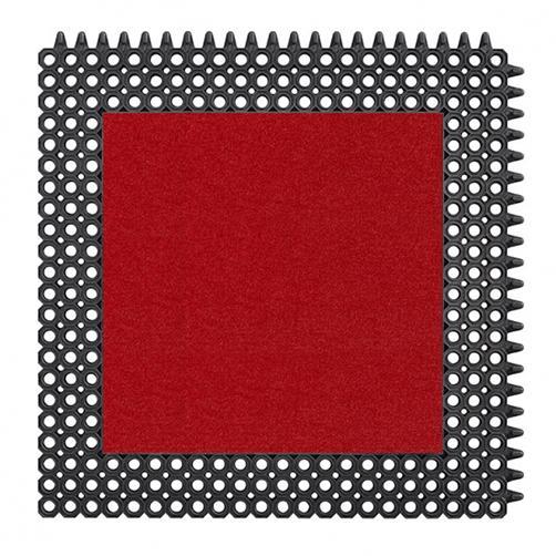 Kleinwaben Gummiplatte mit Schmutzfangfläche in rot