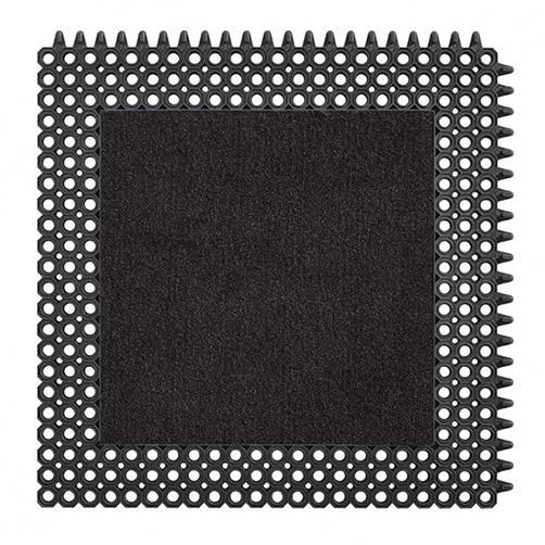 Kleinwaben Gummiplatte mit Schmutzfangfläche in schwarz
