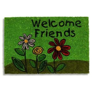 Kokosfussmatte Welcome friends mit Blumen